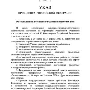 Указ Президента РФ от 25.03.2020 N 206