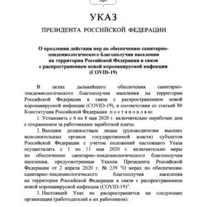 Указ Президента РФ от 28 апреля 2020 г. N 294